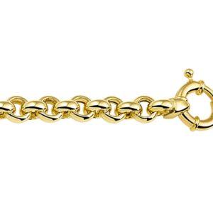 14 krt Goud jasseron armband met Echt zilveren Kern  7 mm