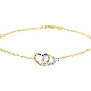 14 krt bicolor gouden Armband hart en zirkonia 1