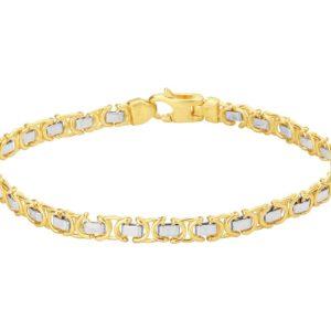 14 krt bicolor gouden Armband konings plat 4
