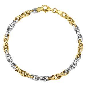 14 krt bicolor gouden Armband koord 4