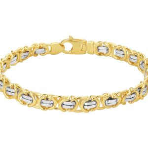 14 krt bicolor gouden Armband plat konings 7 mm