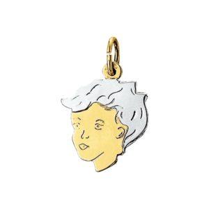 14 krt bicolor gouden Bedel jongen model. 4201249