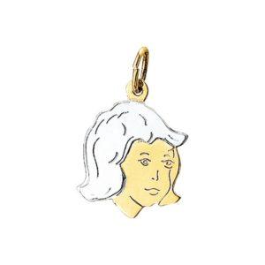 14 krt bicolor gouden Bedel meisje model. 4201250