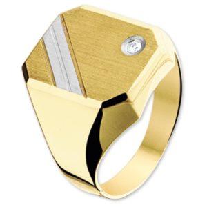 14 krt bicolor gouden Graveerring diamant 0.02 ct. mat gediamanteerd