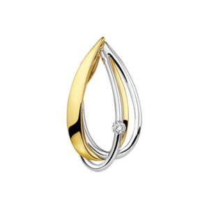 14 krt bicolor gouden Hanger diamant 0.04ct H SI model. 4207345
