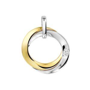 14 krt bicolor gouden Hanger diamant 0.05ct H SI model. 4207365
