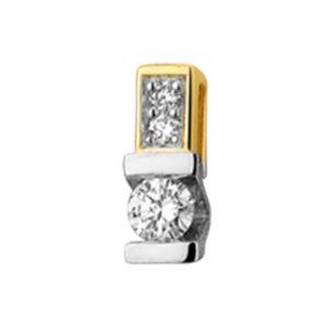 14 krt bicolor gouden Hanger diamant 0.06 ct. model. 4208020