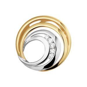 14 krt bicolor gouden Hanger diamant 0.08ct H SI model. 4208190