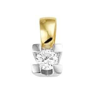 14 krt bicolor gouden Hanger diamant 0.10ct H SI model. 4208284