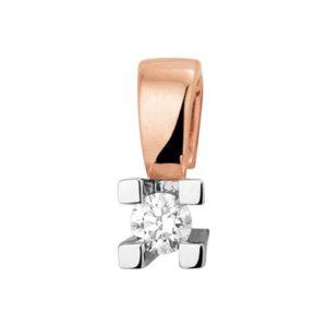 14 krt bicolor gouden Hanger diamant 0.10ct H SI model. 4500627