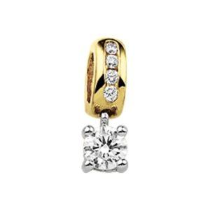 14 krt bicolor gouden Hanger diamant 0.30ct H P1 model. 4206796