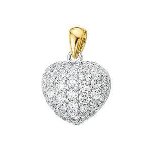 14 krt bicolor gouden Hanger hart zirkonia model. 4202851