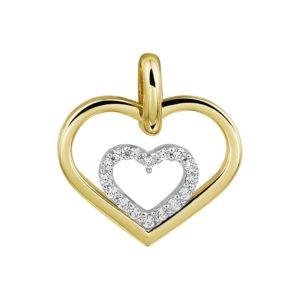 14 krt bicolor gouden Hanger hart zirkonia  model. 4207725