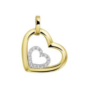 14 krt bicolor gouden Hanger hart zirkonia  model. 4207726