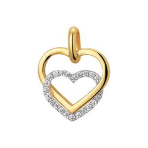 14 krt bicolor gouden Hanger hart zirkonia  model. 4207862