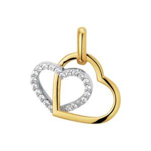 14 krt bicolor gouden Hanger hart zirkonia  model. 4207863
