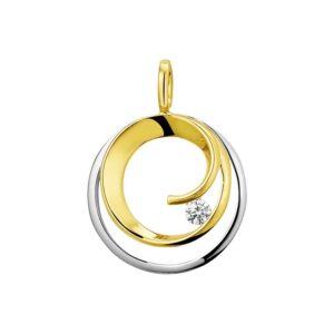 14 krt bicolor gouden Hanger rond diamant 0.09ct H SI model. 4208244