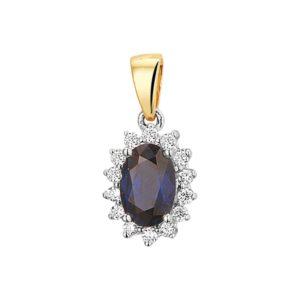 14 krt bicolor gouden Hanger saffier en diamant 0.10ct H SI model. 4208183