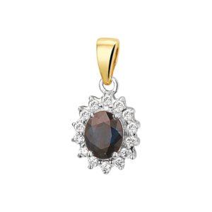 14 krt bicolor gouden Hanger saffier en diamant 0.10ct H SI model. 4208184
