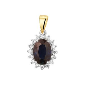 14 krt bicolor gouden Hanger saffier en diamant 0.11ct H SI model. 4208182