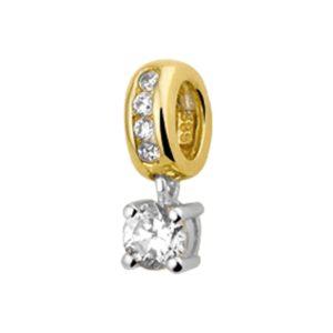 14 krt bicolor gouden Hanger zirkonia 4
