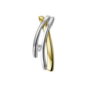 14 krt bicolor gouden Hanger zirkonia model. 4203941