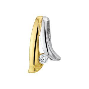 14 krt bicolor gouden Hanger zirkonia model. 4204719