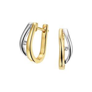 14 krt bicolor gouden Klapcreolen diamant 0.03ct (2x0.015ct) H SI model. 4208030