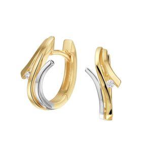 14 krt bicolor gouden Klapcreolen diamant 0.03ct (2x0.015ct) H SI model. 4208187