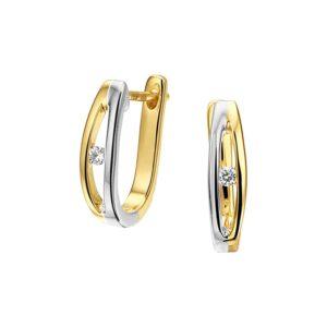 14 krt bicolor gouden Klapcreolen diamant 0.045ct (2x0.0225ct) H SI model. 4208031