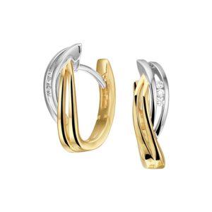 14 krt bicolor gouden Klapcreolen diamant 0.05ct (2x0.025ct) H SI model. 4208188