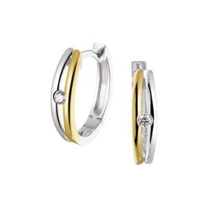 14 krt bicolor gouden Klapcreolen diamant 0.07ct (2x0.035ct) H SI model. 4208266