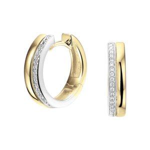 14 krt bicolor gouden Klapcreolen diamant 0.09ct (2x 0.045ct) H SI model. 4208265