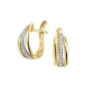 14 krt bicolor gouden Klapcreolen diamant 0.09ct (2x0.045ct) H SI model. 4207638