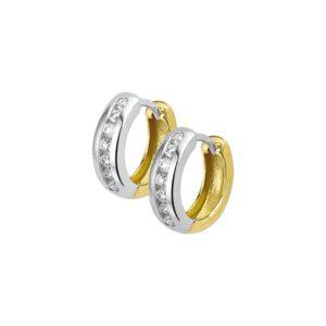 14 krt bicolor gouden Klapcreolen diamant 0.10ct (2x0.05ct) H P1 model. 4206776
