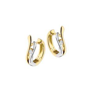 14 krt bicolor gouden Klapcreolen diamant 0.10ct (2x0.05ct) H SI model. 4203322