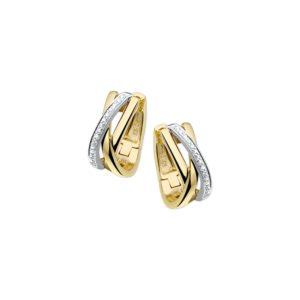 14 krt bicolor gouden Klapcreolen diamant 0.12ct (2x0.06) H SI model. 4206180