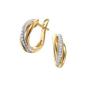 14 krt bicolor gouden Klapcreolen diamant 0.16ct (2x0.08ct) H SI model. 4207825