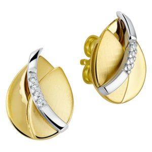 14 krt bicolor gouden Oorknoppen diamant 0.030 ct. poli/mat model. 4207587