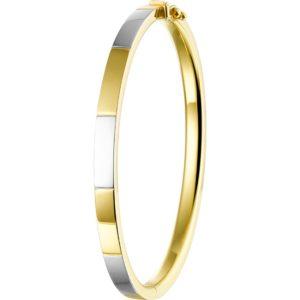 14 krt bicolor gouden Slavenband scharnier vlakke buis 5 x 60 mm model. 4207611