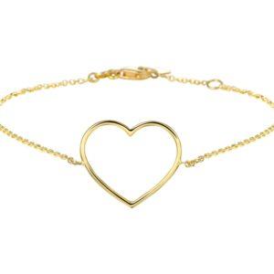 14 krt geelgouden Armband hart 17 - 18