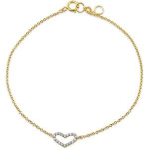14 krt geelgouden Armband hart zirkonia 1