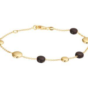 14 krt geelgouden Armband onyx 17 + 2 cm model. 4019095