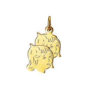 14 krt geelgouden Bedel 2 x meisje model. 4005871