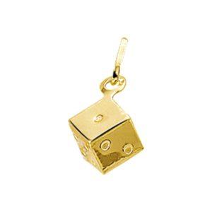 14 krt geelgouden Bedel dobbelsteen model. 4001716
