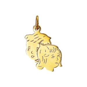 14 krt geelgouden Bedel jongen en meisje model. 4005872