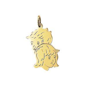 14 krt geelgouden Bedel jongen en meisje model. 4005875