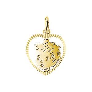 14 krt geelgouden Bedel jongen hart gediamanteerd model. 4005838