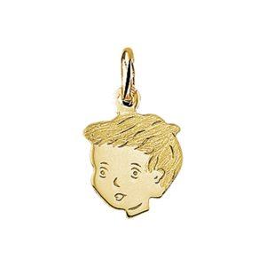 14 krt geelgouden Bedel jongen poli/mat model. 4005817