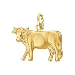 14 krt geelgouden Bedel koe poli/mat model. 4001859